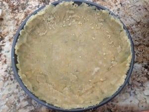 Put it in pan before baking it