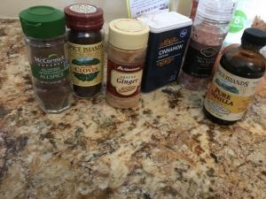 close up of spices used in low carb spice cake